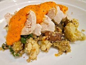 Chicken and roasted vegetable quinoa salad