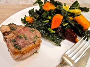 Oven roasted lamb chops with kale salad