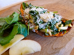 Stuffed Sweet Potato With Kale And Pinenuts