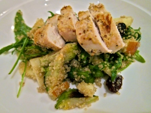 Almond Mustard Crusted Chicken with Quinoa, Arugula, Brussels Sprout and Apple Salad