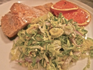 shaved brussels sprout salad with roasted ocean trout